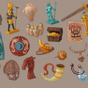A collection of treasures I designed for the game Renowned Explorers by Abbey Games